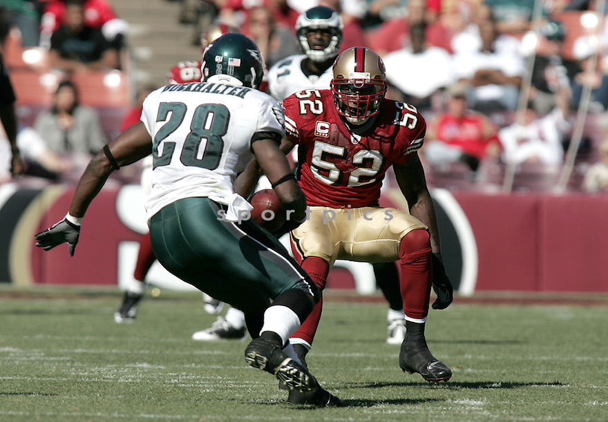 PATRICK WILLIS, of the San Francisco 49ers , in action against the Philadelphia Eagles during the 49ers game in San Francisco, CA on October 12, 2008. ..Eaagles win 40-26