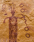 This Barrier Canyon-style rock art panel is found in the area of the San Rafael Swell in Utah known as the Head of Sinbad.  These pictographs were painted by the Archaic Culture people between 1,500 and 4,000 years ago.
