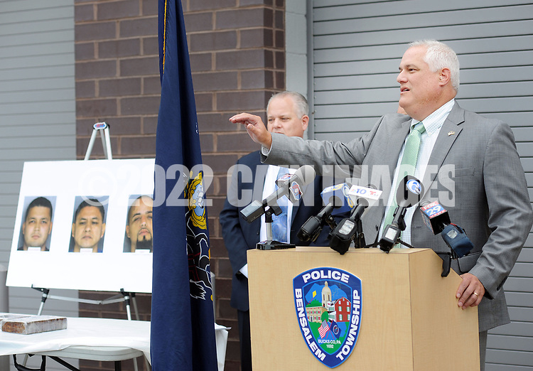 Bucks County District Attorney Matt Weintraub answers questions from media members after they announced a major drug bust involving 6 kilograms of heroin valued at 4 million dollars Thursday, October 05, 2017 at Bensalem Police Department in Bensalem, Pennsylvania. (WILLIAM THOMAS CAIN / For The Philadelphia Inquirer)