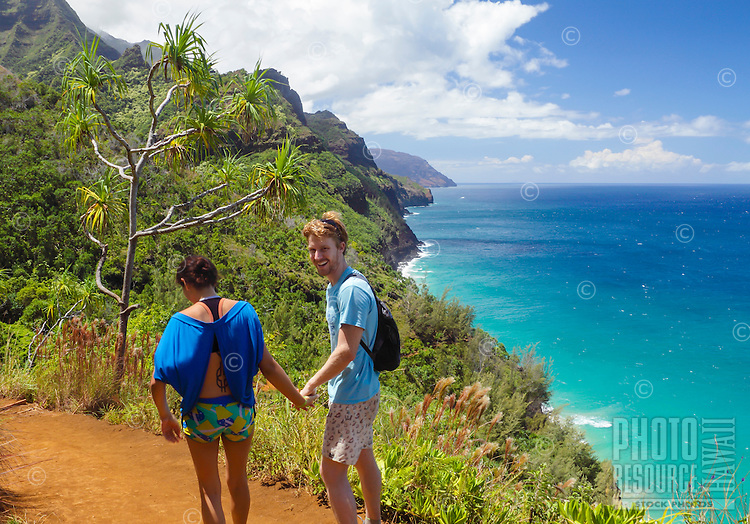 Hikers on the Kalalau Trail along the Na Pali Coast of Kaua'i.