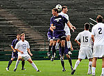 13 September 2009: University of Portland Pilots' midfielder Jarad vanSchaik, a Junior from Tualatin, OR, jumps high to get a header against the University of New Hampshire Wildcats in the second round of the 2009 Morgan Stanley Smith Barney Soccer Classic held at Centennial Field in Burlington, Vermont. The Pilots defeated the Wildcats 1-0 and inso doing were the Tournament Champions for 2009. Mandatory Photo Credit: Ed Wolfstein Photo