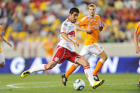 Juan Pablo Angel (9) of the New York Red Bulls. The New York Red Bulls defeated the Houston Dynamo 2-1 during a Major League Soccer (MLS) match at Red Bull Arena in Harrison, NJ, on June 2, 2010.