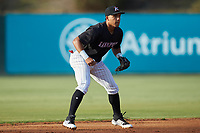 Kannapolis Intimidators shortstop Luis Curbelo (16) on defense against the Lakewood BlueClaws at Kannapolis Intimidators Stadium on July 7, 2018 in Kannapolis, North Carolina. The Intimidators defeated the BlueClaws 4-3 in 10 innings.  (Brian Westerholt/Four Seam Images)