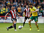 Samir Carruthers of Sheffield Utd and Wesley Hoolahan of Norwich City during the Championship match at Bramall Lane Stadium, Sheffield. Picture date 16th September 2017. Picture credit should read: Simon Bellis/Sportimage