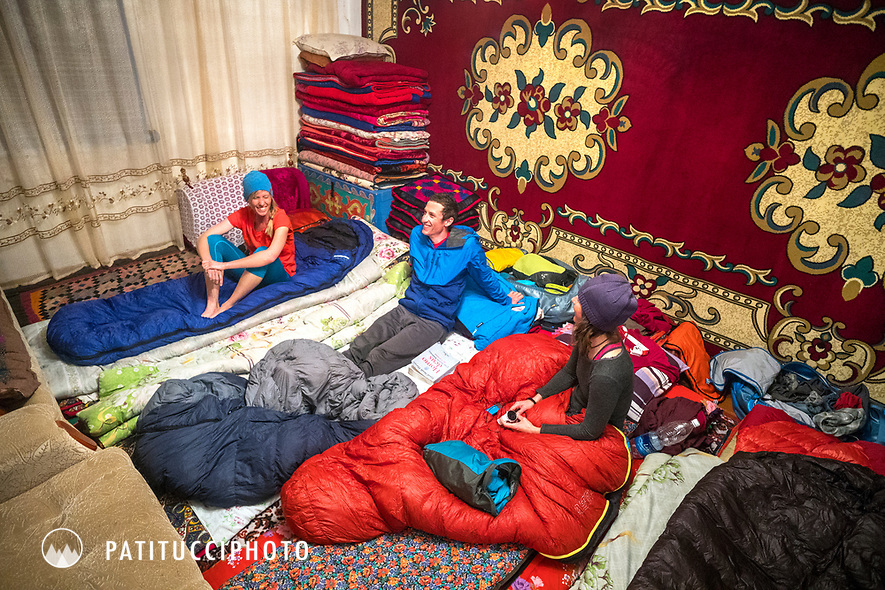Travelers sleeping at a private home in Kyrgyzstan