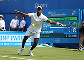 June 19th 2017, Queens Club, West Kensington, London; Aegon Tennis Championships, Day 1;  Donald Young of USA plays a volley versus Nick Kyrgios of Australia
