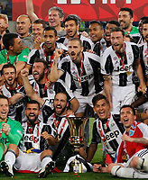 team of Juventus  celebrate after win    Italy Cup Final  football match against SS Lazio at  the Olympic stadium in Rome, Italy   17  May 2017
