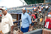 Original Negro League players walk onto the Durham Bulls' field Sunday August 5th 2012.