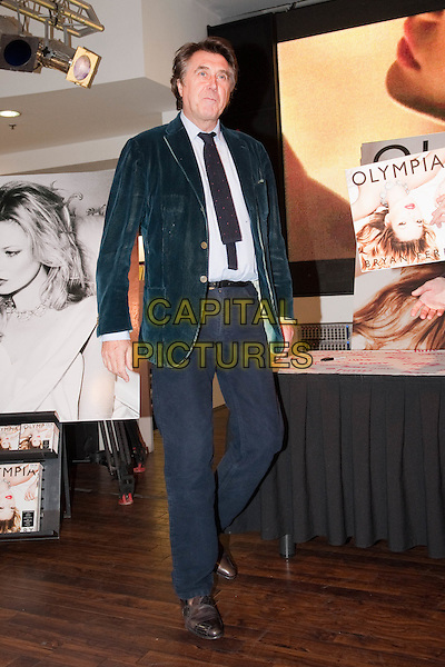 BRYAN FERRY.'Olympia' album signing at HMV shop, Oxford Street, London, England, UK,.11th November 2010..full length suit black tie blue shirt green velvet jacket blue trousers blazer .CAP/HT.©Hugh Thompson/Capital Pictures