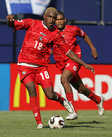 July 24, 2005: East Rutherford, NJ, USA:  Panama's Luis Tejada (18) moves the ball forward during the CONCACAF Gold Cup Finals at Giants Stadium.  The USMNT won 3-1 on penalty kicks.