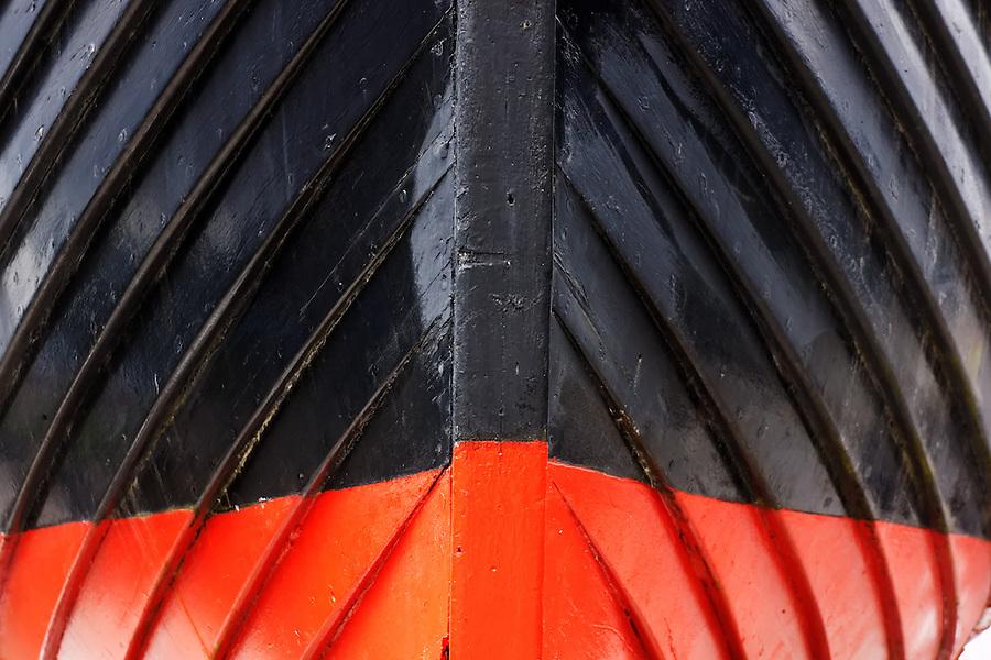 Bow of replica Viking ship Vallhalla at Bojer Wikan Fishermen's Memorial Park, Petersburg, Alaska, USA