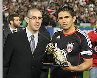 Jaime with Golden Boot award during festivities surrounding the final appearance of Jaime Moreno in a D.C. United uniform, at RFK Stadium, in Washington D.C. on October 23, 2010. Toronto won 3-2.