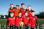 Holy Family NS Front l-r Ben Hanafin, Conor Kerins, Darragh O'Connor, Cian Cooney Back l-r Robert Vasau, Patrick Morawski, Conor Commane and Josh Connolly  at the FAI Spar schools 5 aside soccer tournament in Christy Leahy Park on Tuesday