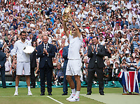 Roger Federer (SUI) celebrates with the Gentleman Trophy after winning the Wimbledon Mens Title, defeating Marin Cilic (CRO), Wimbledon Championships 2017, Day 13, Mens Final, All England Lawn Tennis & Croquet Club, Church Rd, London, United Kingdom - 16th July 2017