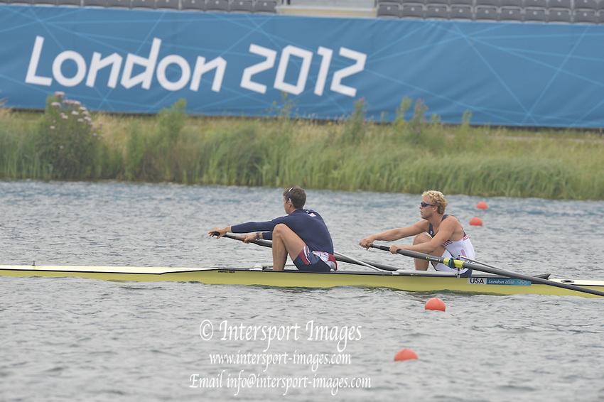 Eton Dorney, Windsor, Great Britain,..2012 London Olympic Regatta, Dorney Lake. Eton Rowing Centre, Berkshire[ Rowing]...Description;  USA M2-  12:41:50   Friday  27/07/2012..[Mandatory Credit: Peter Spurrier/Intersport Images].