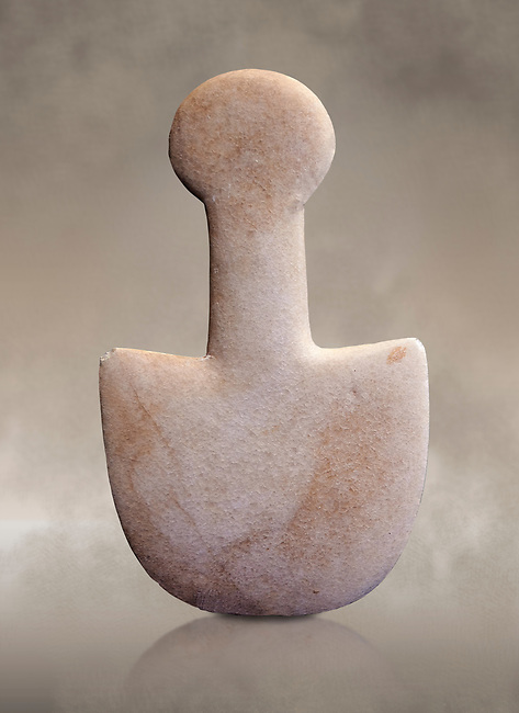 Ancient spade shaped schematic figure from the Pelos phase,   probably from Asia Minor. Early Cycladic period I 3200-2800 BC. Museum of Cycladic Art Athens, Cat no 333