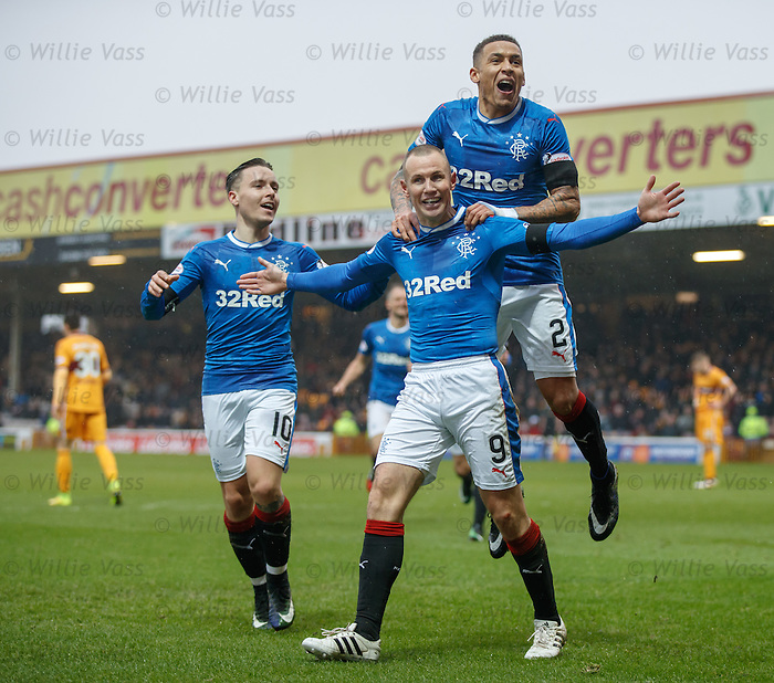 Kenny Miller celebrates his goal for Rangers with James Tavernier and Barrie McKay