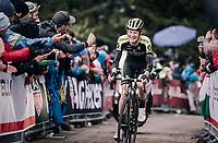 A happy smiling Jack Haig (AUS/Mitchelton Scott) up the grueling/infamous Monte Zoncolan (1735m/11%/10km)<br /> <br /> stage 14 San Vito al Tagliamento &ndash; Monte Zoncolan (186 km)<br /> 101th Giro d'Italia 2018