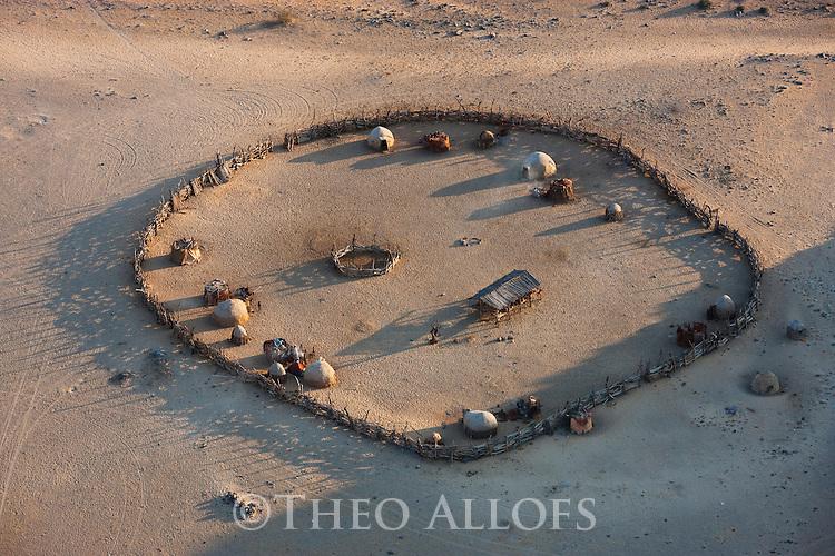 Namibia, Namib Desert, Kaokoland, aerial view of Himba kraal
