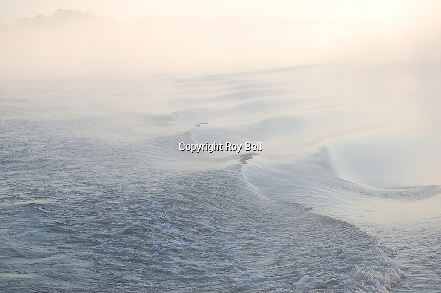 Waves and fog on the intercoastal waterway near Appalatchicola Florida