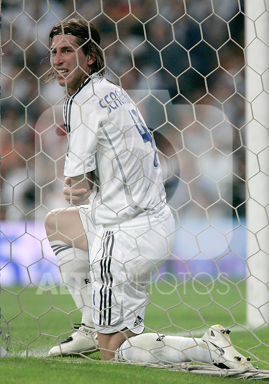 Real Madrid's Sergio Ramos dejected during Spain's La Liga match between Real Madrid and Mallorca at Santiago Bernabeu stadium in Madrid, Sunday June 17, 2007. (ALTERPHOTOS/Alvaro Hernandez).