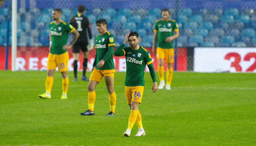 Preston North End players react to going 1-0 down<br /> <br /> Photographer Alex Dodd/CameraSport<br /> <br /> The EFL Sky Bet Championship - Sheffield Wednesday v Preston North End - Wednesday 8th July 2020 - Hillsborough - Sheffield<br /> <br /> World Copyright © 2020 CameraSport. All rights reserved. 43 Linden Ave. Countesthorpe. Leicester. England. LE8 5PG - Tel: +44 (0) 116 277 4147 - admin@camerasport.com - www.camerasport.com