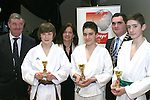 Oliver Brunton, Japanese Karate Federation, Deborah Murphy, Beverage Business Solutions and Kevin Callan with Ross Dinsmore (3rd), Karolis Sinkevicus (1st) and Mark Judge (2nd) at the Karate Presentation in the Barbican, William Street...Photo NEWSFILE/Jenny Matthews.(Photo credit should read Jenny Matthews/NEWSFILE)....This Picture has been sent you under the condtions enclosed by:.Newsfile Ltd..The Studio,.Millmount Abbey,.Drogheda,.Co Meath..Ireland..Tel: +353(0)41-9871240.Fax: +353(0)41-9871260.GSM: +353(0)86-2500958.email: pictures@newsfile.ie.www.newsfile.ie.FTP: 193.120.102.198.