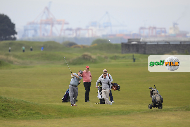 Jack Hume (Naas) and his team on the 7th fairway during the Flogas Irish Amateur Open Championship Am-Am at Royal Dublin on Monday 9th May 2016.<br /> Picture:  Thos Caffrey / www.golffile.ie