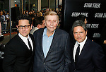 """HOLLYWOOD, CA. - April 30: J.J. Abrams, Sumner Redstone and Brad Grey arrive at the Los Angeles premiere of """"Star Trek"""" at the Grauman's Chinese Theater on April 30, 2009 in Hollywood, California.a"""