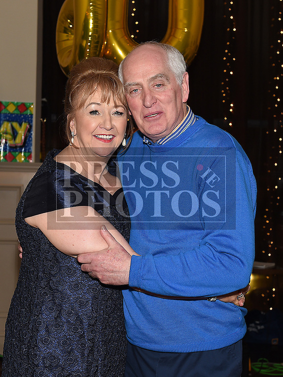 Sandra Callaghan celebrating her 60th birthday in The Thatch with her husband Brendan. Photo:Colin Bell/pressphotos.ie