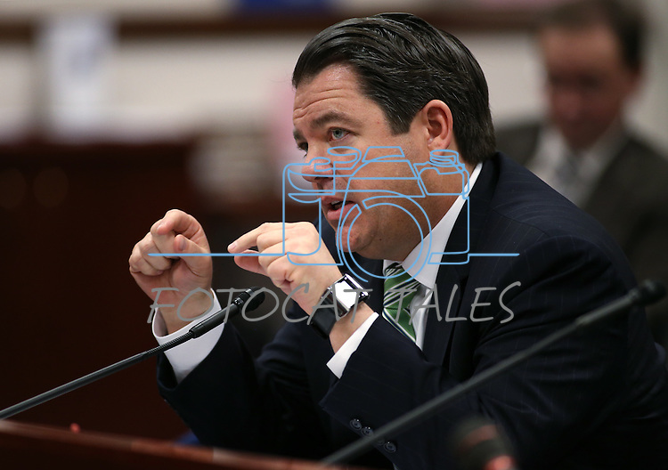 Nevada Senate Majority Leader Michael Roberson, R-Henderson, presents a bill in committee at the Legislative Building, in Carson City, Nev., on Thursday, Feb. 19, 2015. <br /> Photo by Cathleen Allison