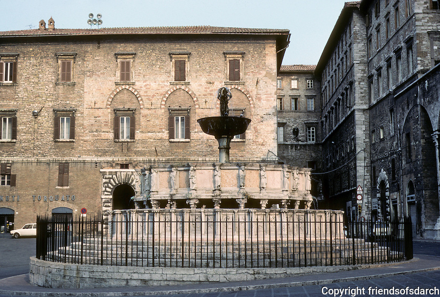 Italy: Perugia--Great Fountain (Fontane Maggiore). Sculptures and Friezes by Nicolo Pisano & Son Giovanni. Photo '83.