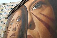 NAPOLES, ITALIA, 19.10.2018 - ARTE-ITALIA - Vista do mural dedicado a Ilaria Cucchi e realizado pelo artista e muralista italiano Agoch Jori nas ruas Nápoles nesta sexta-feira, 19. (Foto: Salvatore Esposito/Brazil Photo Press)