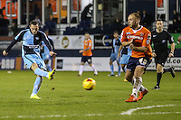 Michael Harriman of Wycombe Wanderers shoots during the Sky Bet League 2 match between Luton Town and Wycombe Wanderers at Kenilworth Road, Luton, England on 26 December 2015. Photo by David Horn.