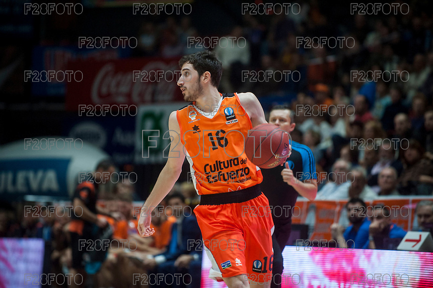 VALENCIA, SPAIN - NOVEMBER 3: Guillem Vives during EUROCUP match between Valencia Basket Club and CAI Zaragozaat Fonteta Stadium on November 3, 2015 in Valencia, Spain