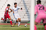 Rui Li of R&F F.C (R) fights for the ball with Runqiu Che of Kwoon Chung Southern (L) during the week three Premier League match between Kwoon Chung Southern and R&F at Aberdeen Sports Ground on September 16, 2017 in Hong Kong, China. Photo by Marcio Rodrigo Machado / Power Sport Images
