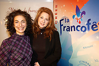 March 12th, 2002, Montreal, Quebec, Canada<br /> <br /> Singers Sylva  Balassanian (L) and Laurence Jalbert (R) Pose for photographers after the press conference for the upcoming Franco FÍte, in Quebec City.<br /> March 12th 2002, in Montreal, Canada<br /> <br /> <br /> <br /> <br /> <br /> <br /> NOTE :  D-1 H original JPEG, saved as Adobe 1998 RGB