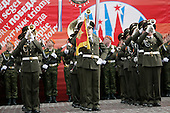 Military bands perform during a military procession commemorating the 60th anniversary of the end of World War II in Red Square, Moscow, Russia, Monday, May 9, 2005. <br /> Credit: Eric Draper - White House via CNP