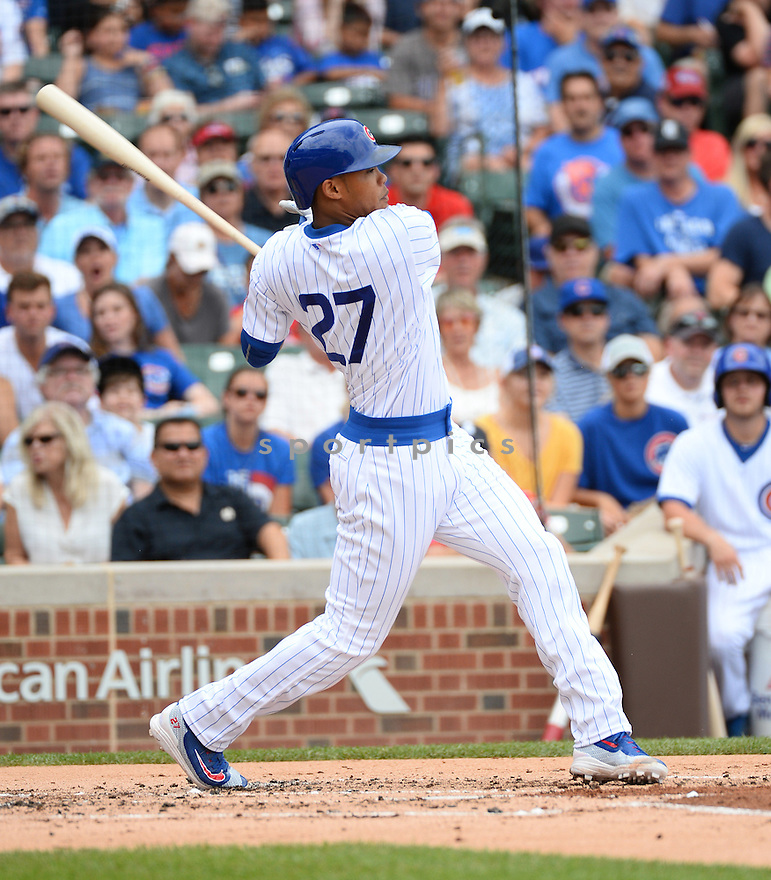 Chicago Cubs Addison Russell (27) during a game against the New York Mets on July 20, 2016 at Wrigley Field in Chicago, IL. The Cubs beat the Mets 6-2.