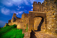 Porte d'Aude, La Cite, the medieval city of Carcassonne, France.