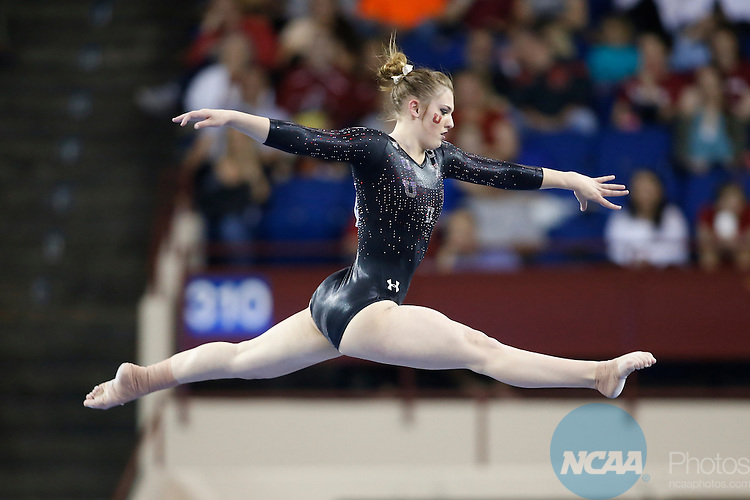 Apr 18, 2015; Fort Worth, TX, USA;  Baely Rowe from the University of Utah performs on the balance beam during the Division I Women's Gymnastics Championship held at the Fort Worth Convention Center Arena in Fort Worth, Texas. Rowe scored a 9.850 to help her team finish second for the national title. Tim Heitman/NCAA Photos