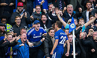 Cesar Azpilicueta of Chelsea celebrates his goal with supporters during the Premier League match between Chelsea and Watford at Stamford Bridge, London, England on 21 October 2017. Photo by Andy Rowland.