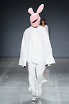 "Model walks runway in an outfit by Qian Wu, for the 2018 Pratt Institute ""Diversiform"" collection Fashion Show at Spring Studios in New York City, on May 3, 2018."