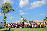 Anirban Lahiri (IND) watches his tee shot on 13 during round 3 of the Honda Classic, PGA National, Palm Beach Gardens, West Palm Beach, Florida, USA. 2/25/2017.<br /> Picture: Golffile | Ken Murray<br /> <br /> <br /> All photo usage must carry mandatory copyright credit (&copy; Golffile | Ken Murray)