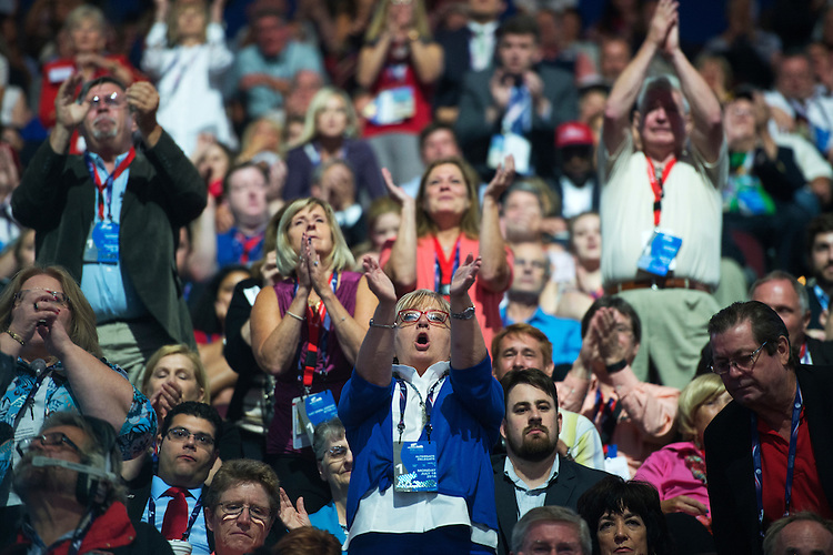 UNITED STATES - JULY 18: The crowd cheers in the Quicken Loans Arena on first day of the Republican National Convention in Cleveland, Ohio, July 18, 2016. (Photo By Tom Williams/CQ Roll Call)