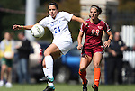 02 October 2011: Duke's Mollie Pathman (24) and Virginia Tech's Amanda Gerhard (22). The Duke University Blue Devils defeated the Virginia Tech Hokies 1-0 at Koskinen Stadium in Durham, North Carolina in an NCAA Division I Women's Soccer game.