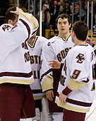 Mike Brennan (BC 4), Dan Bertram (BC 22), Nate Gerbe (BC 9) - The Boston College Eagles defeated the Harvard University Crimson 6-5 in overtime on Monday, February 11, 2008, to win the 2008 Beanpot at the TD Banknorth Garden in Boston, Massachusetts.