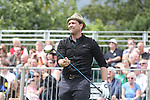Scottish actor Dougray Scott tees off on the 1st hole.<br /> Celebrity Cup Golf<br /> Celtic Manor Resort<br /> 04.07.14<br /> &copy;Steve Pope-SPORTINGWALES
