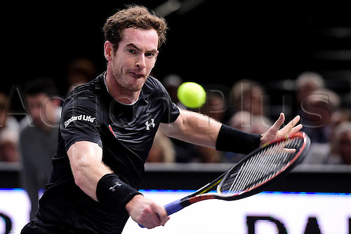 06.11.2015. Paris, France BNP Paribas Master Tennis, Bercy. Semi-finals match between Andy Murray( GBR) and david Ferrrer. Murray returns.