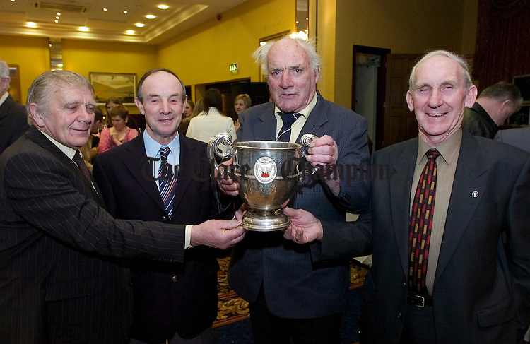 L-R Brian McGuane,Bernie Donellan, Tom McNamara and John O'Donnell at the Crusheen GAA Dinner at the West County Hotel.Pic Arthur Ellis.